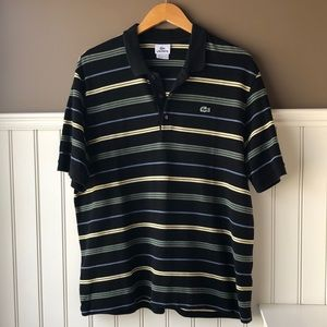 Lacoste Black Striped Polo size 7 (XL)